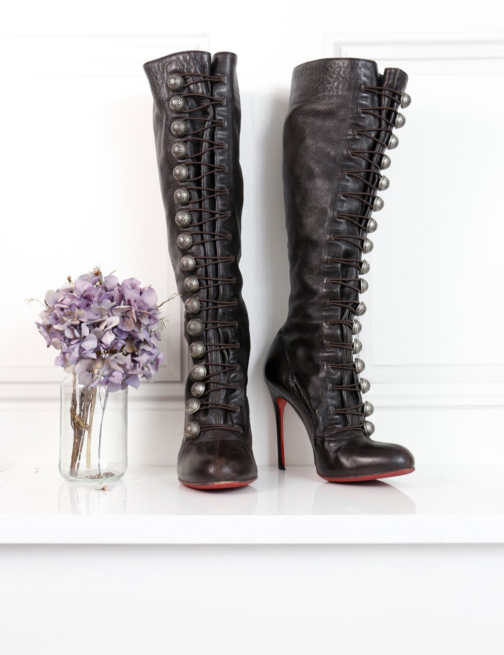 Louboutin dark brown Ronfifi Alta 100 buttoned boots 4.5UK- My Wardrobe Mistakes
