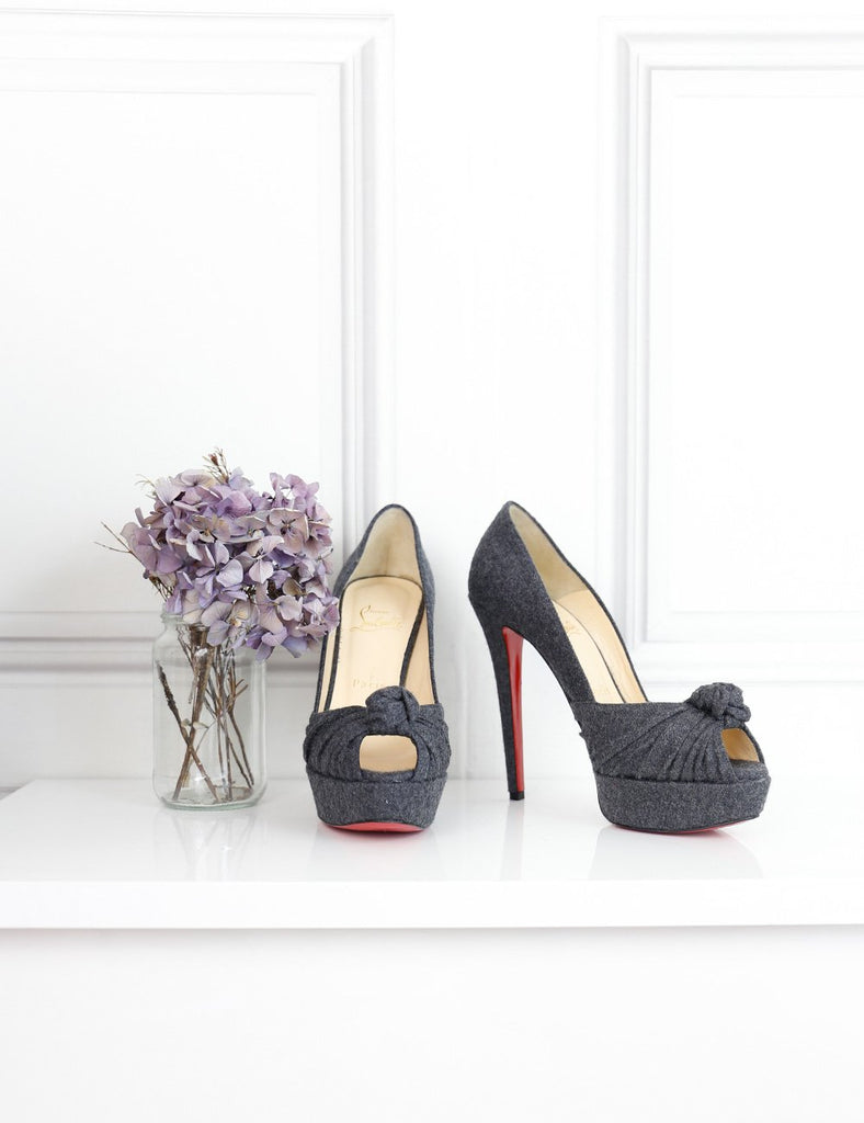 Louboutin dark grey Greissimo pumps 140 flannel 4.5 Uk-My Wardrobe Mistakes