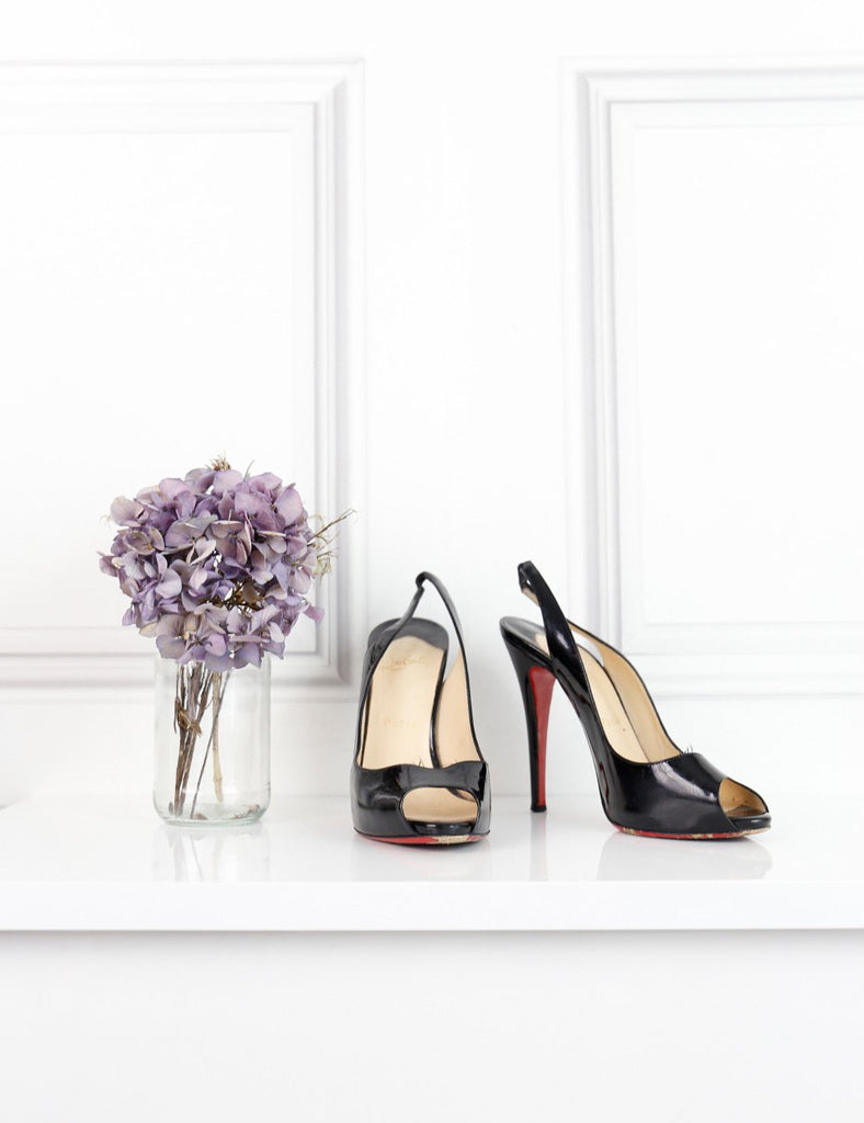 Louboutin black patent Gamma talon 120 slingback pumps 4UK- My Wardrobe Mistakes