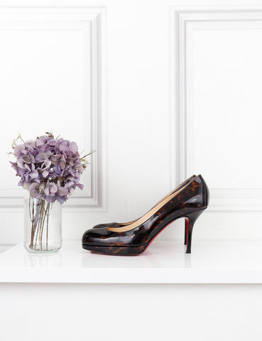 LOUBOUTIN SHOES 4UK-37IT-38FR / Brown LOUBOUTIN Prorata 90 dark patent leather pumps