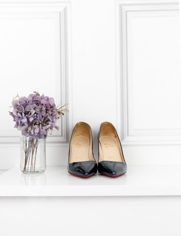 LOUBOUTIN SHOES 4UK-37IT-38FR / Navy blue LOUBOUTIN Pigalle 85 patent leather pumps