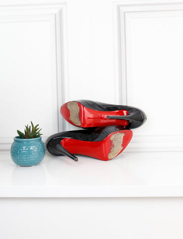 LOUBOUTIN SHOES 5.5UK-38.5IT-39.5FR / Black LOUBOUTIN Bianca 130 Patent Pumps