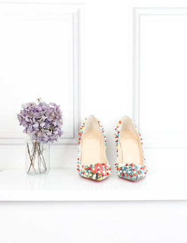 Louboutin multicolour Follies Spikes 120 pumps 6Uk- My Wardrobe Mistakes