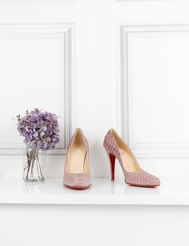 LOUBOUTIN SHOES Decollete 868 rosette python pumps