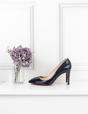 Louboutin navy blue Pigalle 85 patent leather pumps 4UK- My Wardrobe Mistakes
