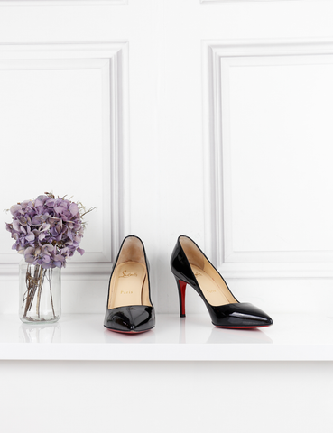 LOUBOUTIN SHOES black Pigalle 85 patent leather pumps 4UK- My Wardrobe Mistakes