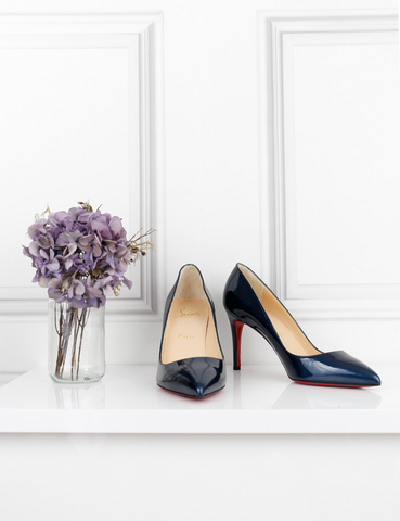 LOUBOUTIN SHOES blue Pigalle 85 patent pumps- My Wardrobe Mistakes