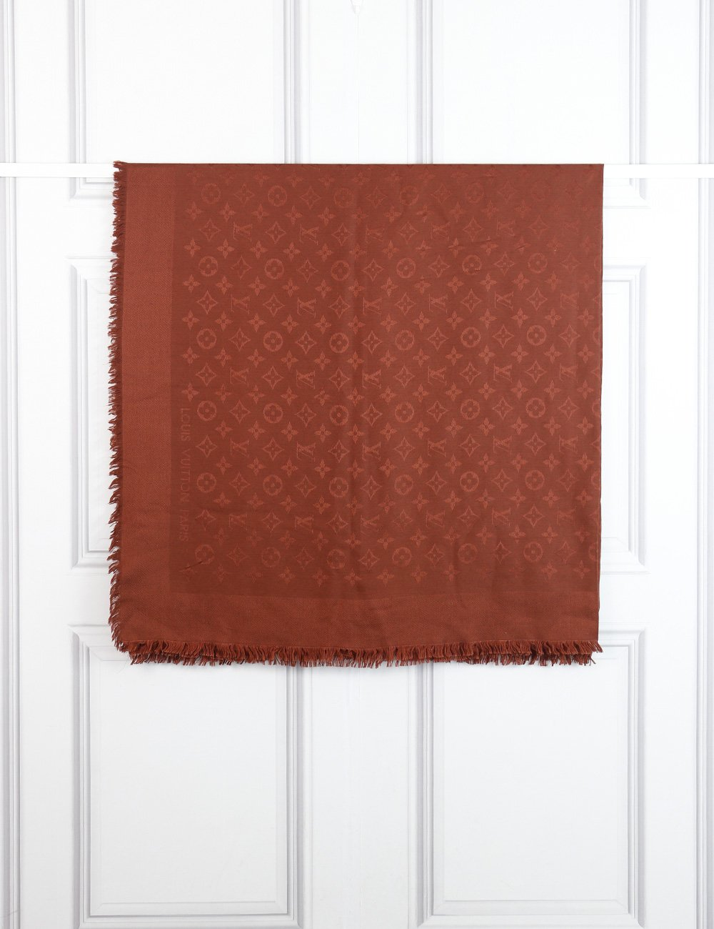 Louis Vuitton russet classic monogram scarf- My Wardrobe Mistakes