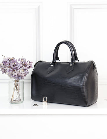 Louis Vuitton black epi leather Speedy 25 bag- My Wardrobe Mistakes