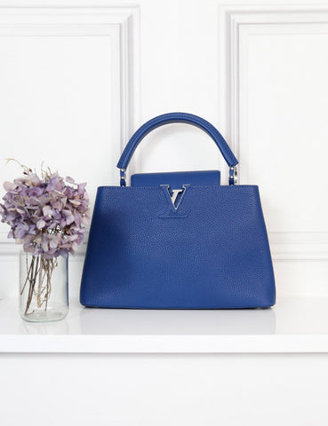 Louis Vuitton blue Capucines PM Taurillon bag