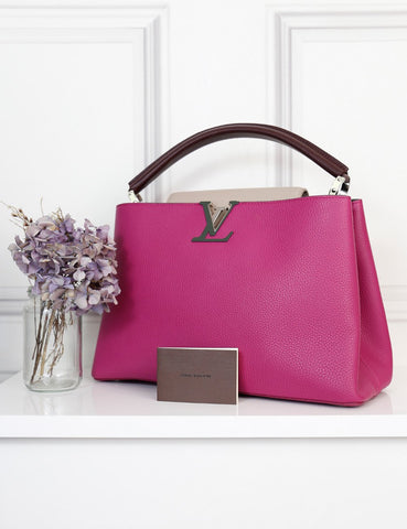 Louis Vuitton fuchsia Capucines MM Taurillon bag