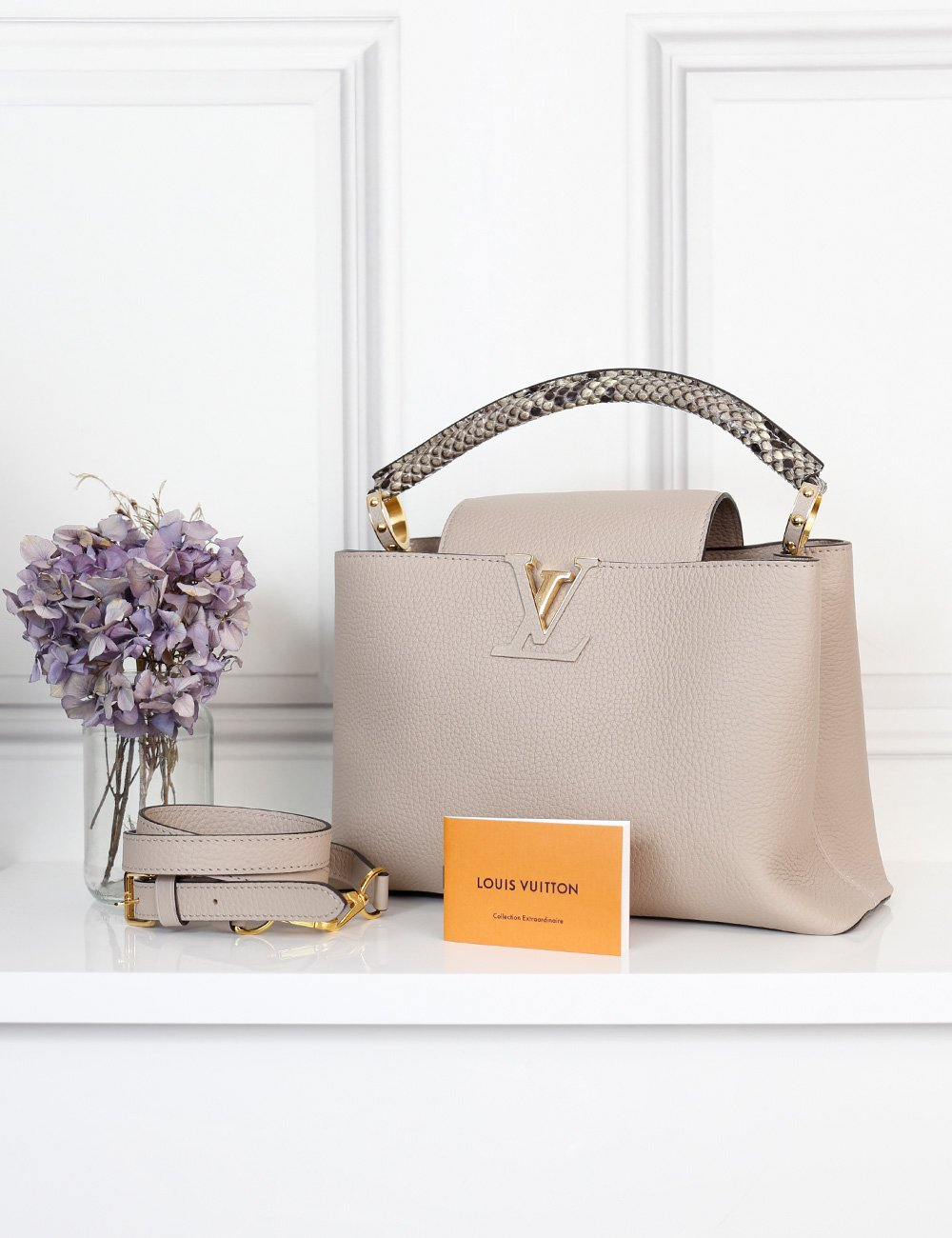 Louis Vuitton grey Capucines PM Taurillon bag with python handle