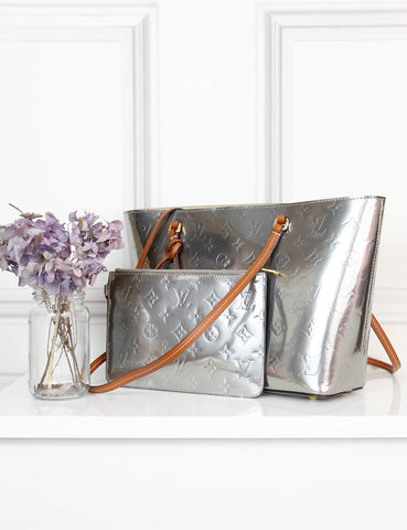 Louis Vuitton metallic grey Vernis Long Beach PM bag