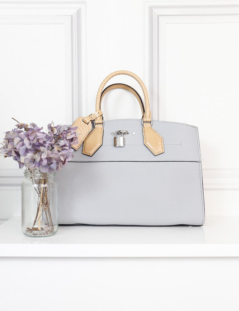 Louis Vuitton light grey City Steamer mm with python handles- My Wardrobe Mistakes
