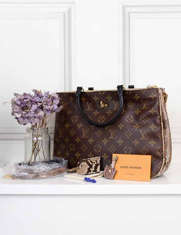 Louis Vuitton Monogram Millefeuille bag with python handle