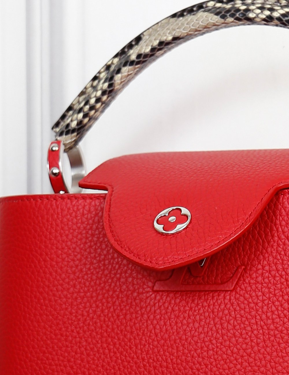 Louis Vuitton red Capucines PM Taurillon bag with python handle