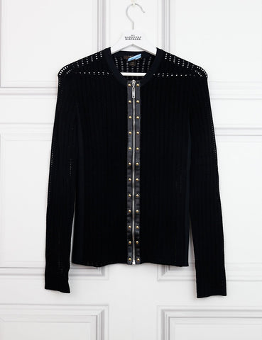 LOUIS VUITTON CLOTHING 8UK-40IT-36FR / Black LOUIS VUITTON Zipped cardigan with stud details