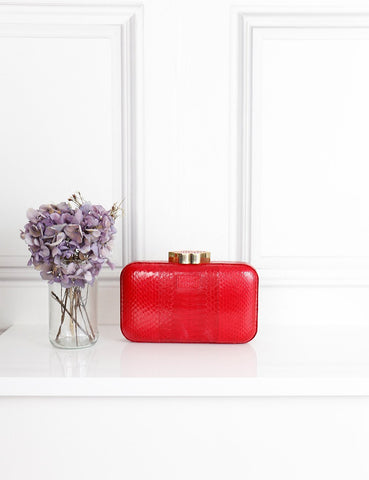 Lulu Guinness red snakeskin Fifi clutch bag- My Wardrobe Mistakes