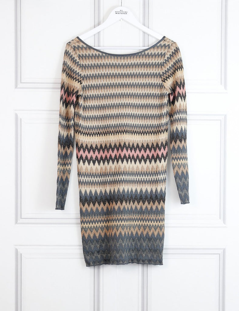 M by Missoni multicolour open back fitted dress with signature print 8Uk- My Wardrobe Mistakes