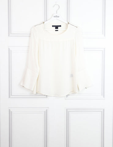 Marc by Marc white silk blouse with zips 6Uk- My Wardrobe Mistakes