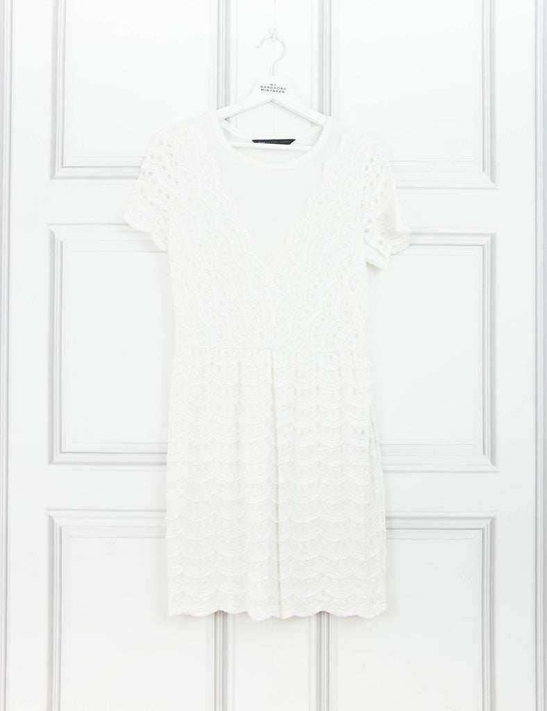 MARC BY MARC CLOTHING Textured flared dress WHITE 8UK- My Wardrobe Mistakes
