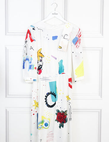 Marc Jacobs multicolour printed arty silk dress 6Uk- My Wardrobe Mistakes