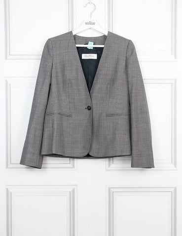 Max Mara grey tailored collarless jacket 10Uk- My Wardrobe Mistakes