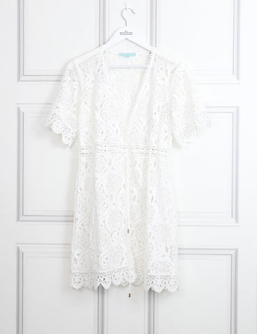 Melissa Odabash white Barrie cotton blend ordered lace mini dress 10 Uk- My Wardrobe Mistakes