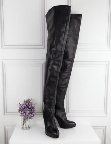 Michel Perry black thigh-high leather boots 6.5UK- My Wardrobe Mistakes