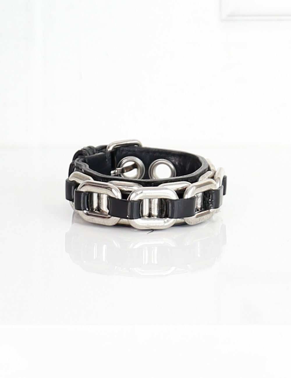 Miu Miu black patent leather chain link bracelet- My Wardrobe Mistakes