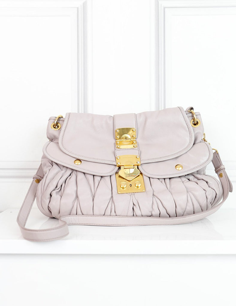Miu Miu taupe quilted handbag with plaited handle- My Wardrobe Mistakes