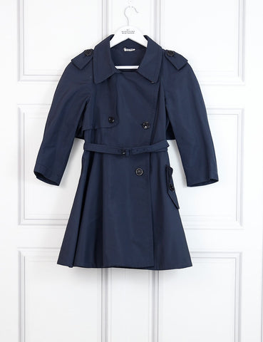 Miu Miu blue double breasted flared trench coat 8Uk- My Wardrobe Mistakes