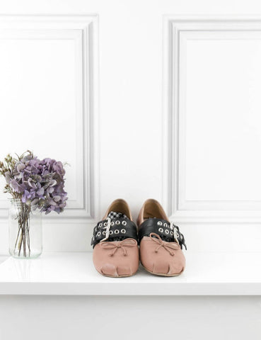 MIU MIU Buckle-embellished leather ballet flat ballerinas