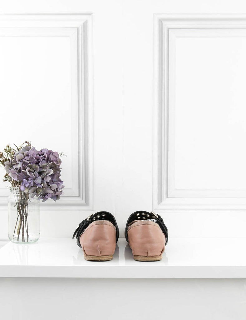 MIU MIU SHOES Buckle-embellished leather ballet flat ballerinas