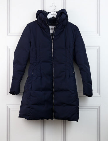 MONCLER CLOTHING 12UK-44IT-40FR / Blue MONCLER Black 'Renne' A line Down Coat