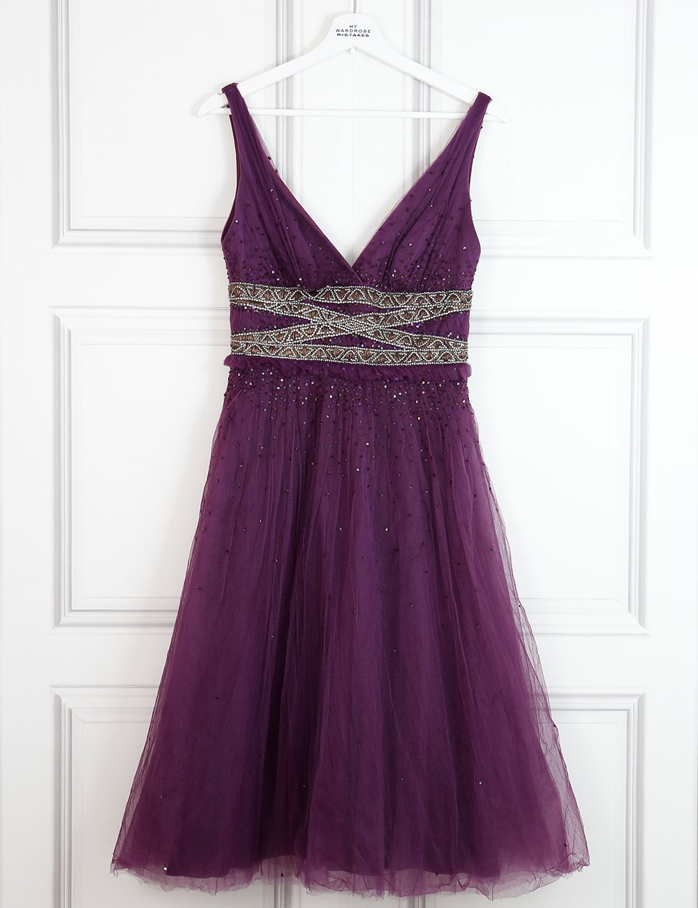 Monique Lhuillier purple cocktail dress with rhinestones 10 UK- My Wardrobe Mistakes