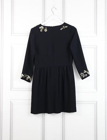 Mulberry black skater mini dress with sequinned embroidery 10UK- My Wardrobe Mistakes