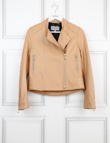 Mulberry caramel leather jacket with quilted shoulder details 8UK- My Wardrobe Mistakes