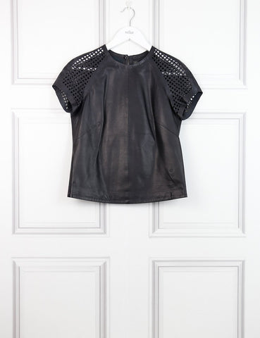 Muuba black leather top with perforated short sleeves 8UK- My Wardrobe Mistakes