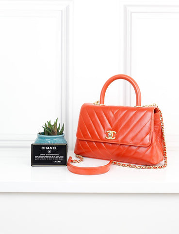 My Wardrobe Mistakes One size / Orange CHANEL Stitched Chevron Coco Top Handle Bag