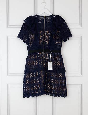 My Wardrobe Mistakes SELF PORTRAIT Navy Floral Guipure Mini Short Sleeve Dress