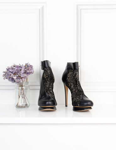 NICHOLAS KIRKWOOD SHOES 6UK-39IT-40FR / Black NICHOLAS KIRKWOOD Stiletto platform ankle boots with lace details