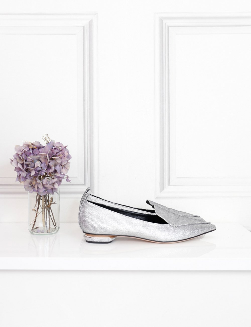 Nicholas Kirkwood silver beya metallic twill pointed toe flats 8Uk