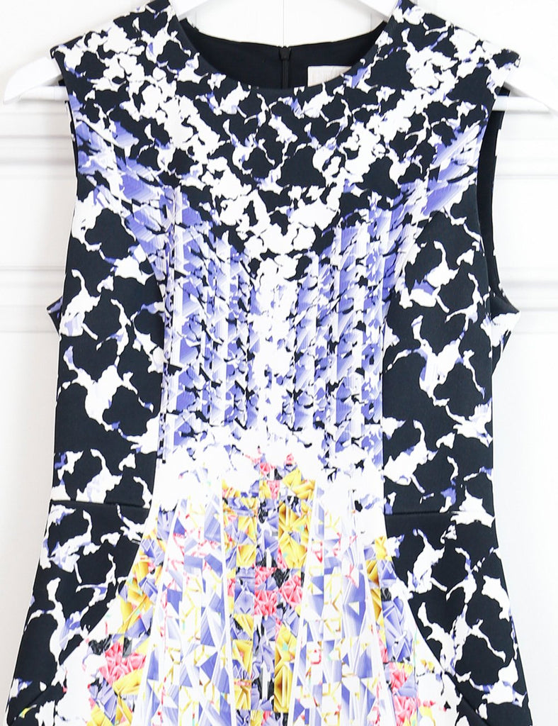 Peter Pilotto multicolour sleeveless dress with geometrical neon print 6UK- My Wardrobe Mistakes