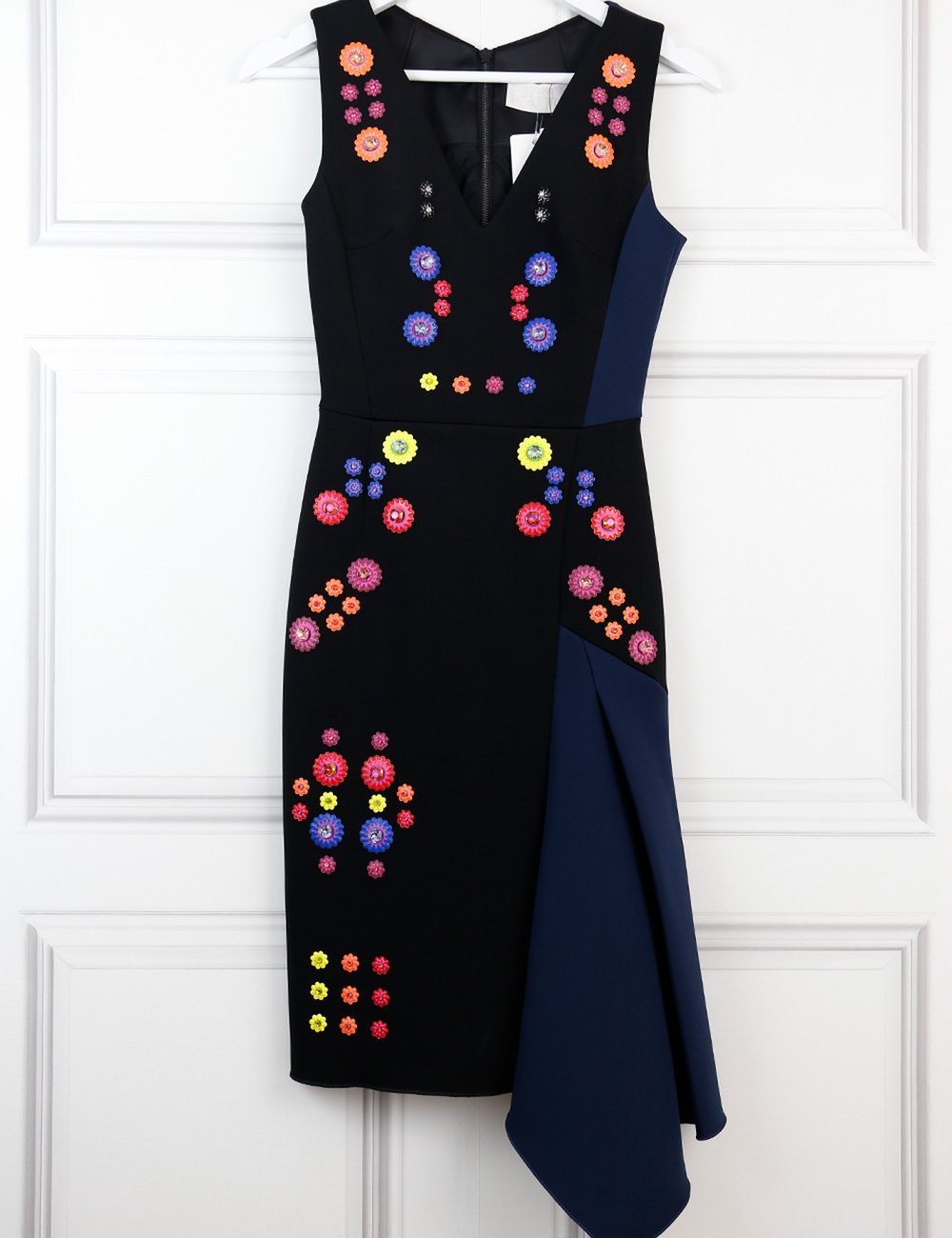 Peter Pilotto multicolour asymmetric sleeveless dress with floral jewel embellishments 8UK- My Wardrobe Mistakes