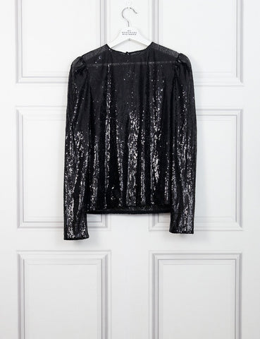 Philosophy black sequinned long sleeves top 12 Uk