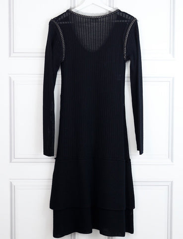 Philosophy black woollen dress with chain details 14Uk- My Wardrobe Mistakes