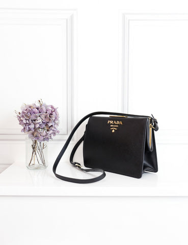 Prada black light frame leather saffiano bag- My Wardrobe Mistakes