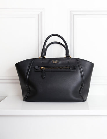 Prada black Trapeze tote handbag- My Wardrobe Mistakes