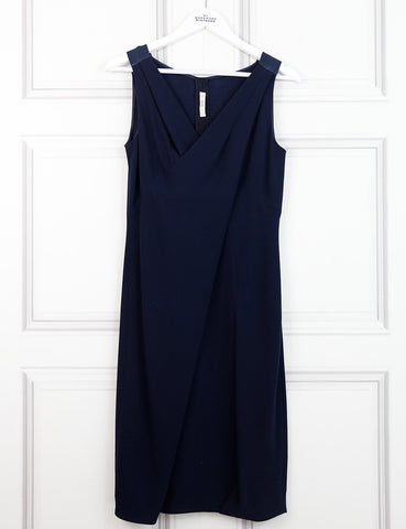 Prada blue draped mid-length sleeveless dress 10 UK- My Wardrobe Mistakes
